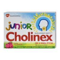 CHOLINEX junior, pastylki do ssania, smak malinowy, 16szt